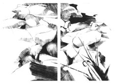 Rocks, graphic black and white print of rocks, landscape diptych