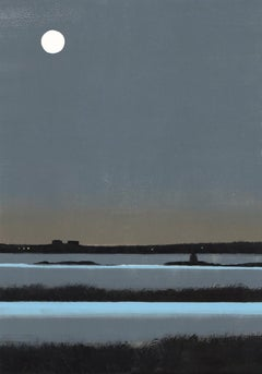 Small Moon, monoprint of river at night, pastel blue and gray