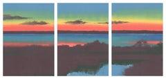 Sundown, bright landscape triptych, sunset