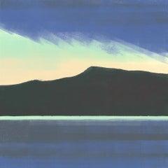 Superior, bright blue abstract monoprint of lake