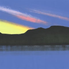 Superior II, bright blue abstract monoprint of lake