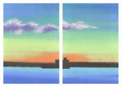 Tanker, vibrant print of ship against sunset, diptych