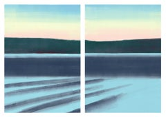 Waves, blue waters and pastel sky, landscape diptych