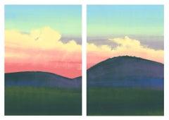 West, bright sunset, landscape diptych
