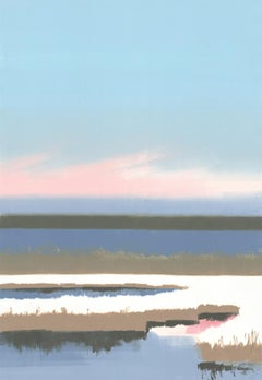 Winter, monoprint of river during the day, snow, pastel blue and pink