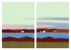 Winter Morning, print of sky over blue river, diptych