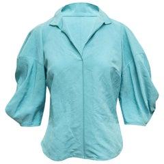 Rachel Comey Turquoise Puff Sleeve Blouse