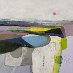 Rachel Cronin, Rose Moon, Original Abstract Landscape Painting, Affordable Art