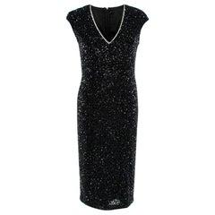 Rachel Gilbert Black Cap-Sleeve Sequined Fleur Dress 3