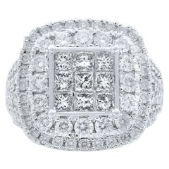 Rachel Koen 10 Karat White Gold Diamond Cocktail Ring 3.00 Carat