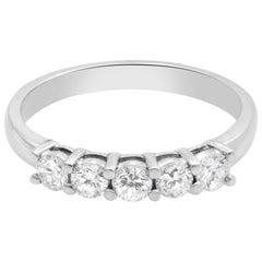 Rachel Koen 14 Karat Gold Five-Stone Shared Prong-Set Diamond Band 0.50 Carat