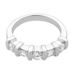 Rachel Koen 14 Karat White Gold Baguette & Round Diamond Wedding Band 0.66 Carat