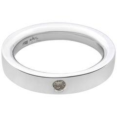 Rachel Koen 14 Karat White Gold Bezel Set Diamond Ladies Wedding Band 0.06 Carat