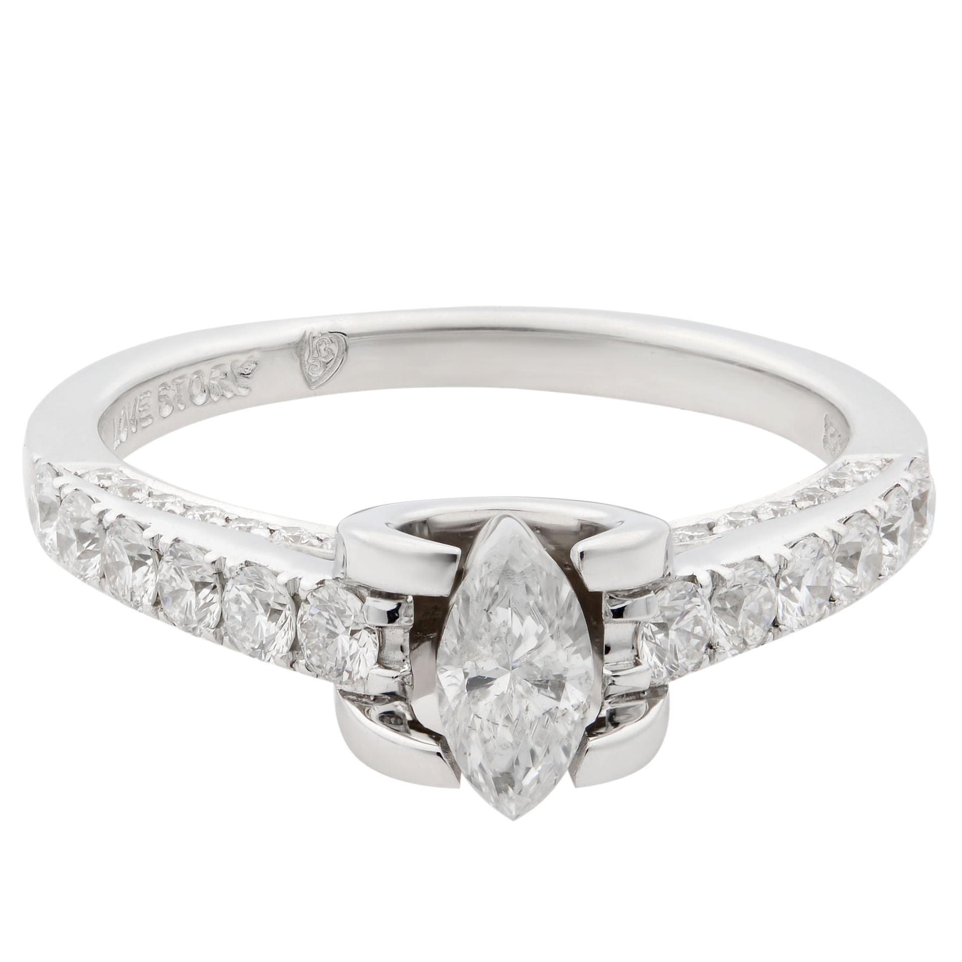 Rachel Koen 14 Karat White Gold Diamond Accented Ladies Ring 1.05 Carat