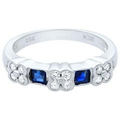 Rachel Koen 14 Karat White Gold Diamond and Blue Sapphire Band