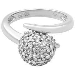 Rachel Koen 14 Karat White Gold Diamond Ball Ring 0.40 Carat