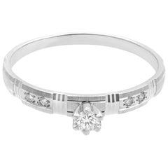 Rachel Koen 14 Karat White Gold Diamond Engagement Ring 0.15 Carat