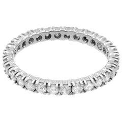 Rachel Koen 14 Karat White Gold Diamond Eternity Ladies Wedding Band 1.25 Carat