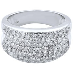 Rachel Koen 14 Karat White Gold Diamond Wide Band 1.00 Carat