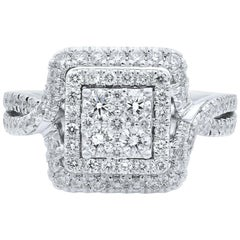 Rachel Koen 14 Karat White Gold Double Halo Engagement Ring 2.00 Carat