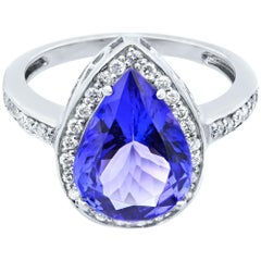 Rachel Koen 14 Karat White Gold Pear Shaped Tanzanite and Diamonds Ring
