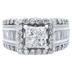 Rachel Koen 14 Karat White Gold Princess Head Diamond Wide Engagement Ring