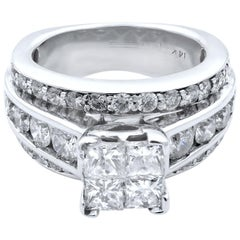 Rachel Koen 14 Karat White Gold Princess Head Wide Engagement Ring 3.00 Carat