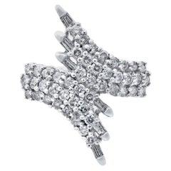 Rachel Koen 14 Karat White Gold Round and Baguette Cut Diamond Ring 1.50 Carat