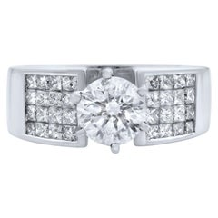 Rachel Koen 14 Karat White Gold Round Cut Diamond Wide Ring 2.00 Carat