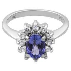 Rachel Koen 14 Karat White Gold Tanzanite Diamond Engagement Ring