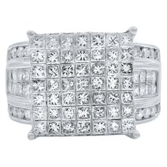 Rachel Koen 14 Karat White Gold Wide Band Diamond Engagement Ring 3.00 Carat