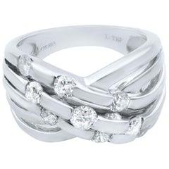Rachel Koen 14 Karat White Gold Wide Crisscross Diamond Band 1.00 Carat