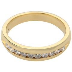 Rachel Koen 14 Karat Yellow Gold Channel Set Diamond Wedding Band 0.30 Carat