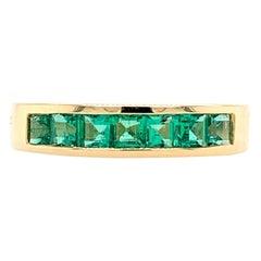 Rachel Koen 14 Karat Yellow Gold Green Emerald Band Ring 0.81 Carat