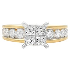 Rachel Koen 14 Karat Yellow Gold Princess Cut Multi Shaped Engagement Ring