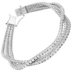 Rachel Koen 14K White Gold 3-Row Prong Set Diamond Tennis Bracelet 14.20 Carat
