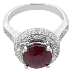 Rachel Koen 14K White Gold Diamond 0.75 Carat Ruby 4.15 Carat Solitaire Ring