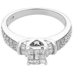 Rachel Koen 14 Karat White Gold Diamond Engagement Ring 0.55 Carat