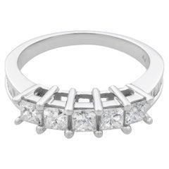 Rachel Koen 14K White Gold Princess Cut Baguettes Diamond Band Ring 1.15 Carat