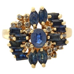 Rachel Koen 14K Yellow Gold Blue Sapphire & Diamond Cocktail Ring
