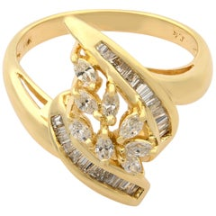 Rachel Koen 14K Yellow Gold Marquise and Baguette Diamonds Cocktail Ring 0.75cts