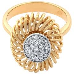 Rachel Koen 18 Karat Rose Gold Diamond Unique Cocktail Ring 0.15 Carat