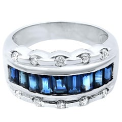 Rachel Koen 18 Karat White Gold Blue Sapphire Diamond Ladies Ring