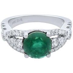 Rachel Koen 18 Karat White Gold Green Emerald Diamond Engagement Ring