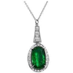 Rachel Koen 18 Karat White Gold Green Emerald Oval Diamond Pendant
