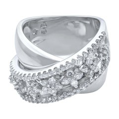 Rachel Koen 18 Karat White Gold Layered Wide Band Diamond Ring 1.00 Carat