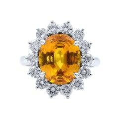 Rachel Koen 18 Karat White Gold Yellow Oval Sapphire and Diamonds Ring