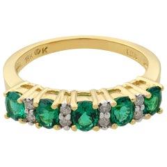 Rachel Koen 18 Karat Yellow Gold Five-Stone Emerald and Diamond Wedding Band
