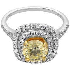 Rachel Koen 18 Karat White Gold Round Cut Fancy Yellow Diamond Ring 1.13 Carat