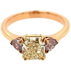 Rachel Koen 18K Yellow Gold Asscher and Pear Shaped Three-Stone Ring 1.37 Carat